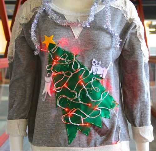 "If you are on the hunt for ugly sweater ideas, take a look at this ""Cat Lady"" DIY Ugly Christmas Sweater. Because you are making it yourself, you won't find better cheap ugly Christmas sweaters. This DIY ugly Christmas sweater comes with patterns."