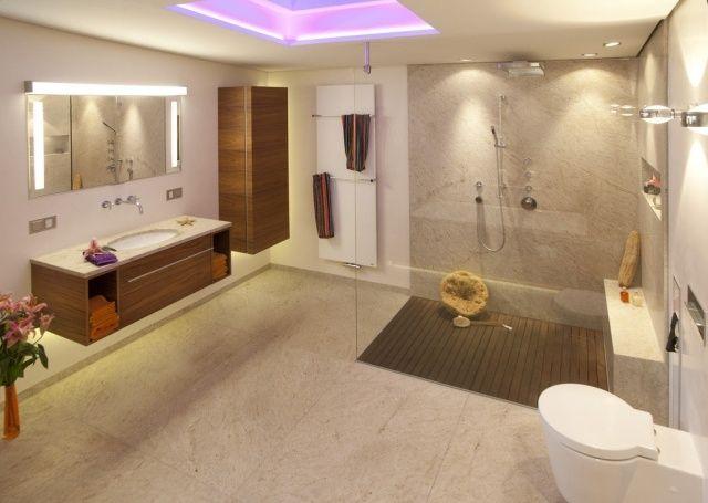 Badezimmer Bilder Modern Glasdusche Holz Möbel Set