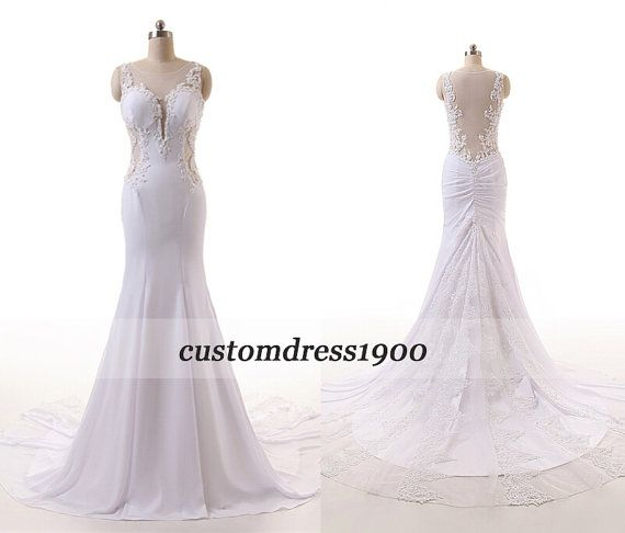 Cap Sleeve Wedding DressHandmade Appliqued by customdress1900