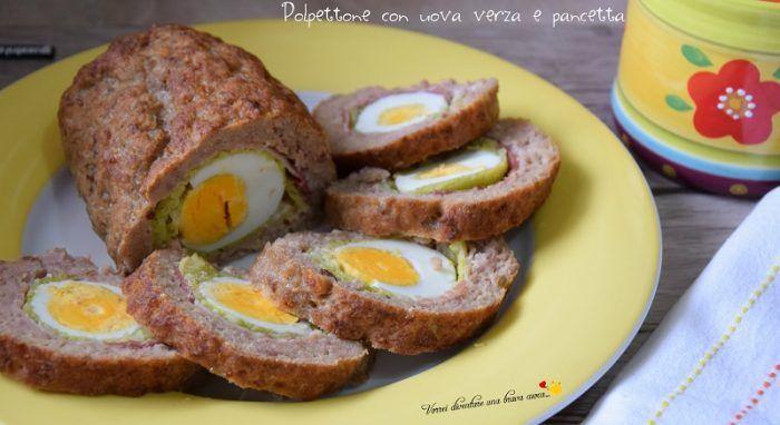 Polpettone con uova verza e pancetta