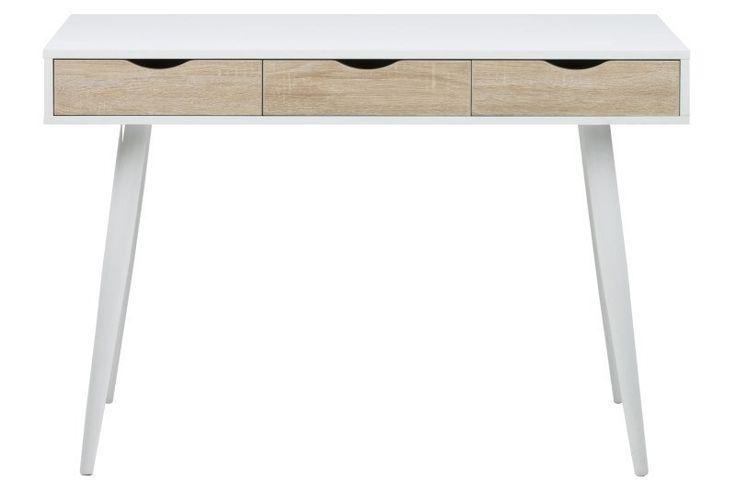 Piper Skrivebord - Lækkert moderne skrivebord i nordisk design. Skribordet har tre rummelige skuffer til opbevaring. Perfekt som arbejdsbord i stuen, på kontoret eller børneværelset.