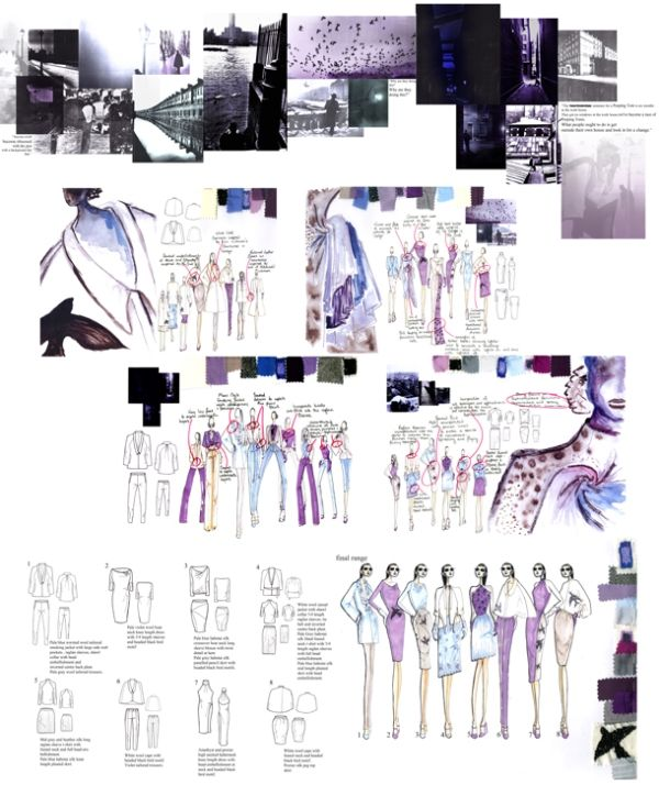 Fashion Portfolio - Romanticism Noir project research, fashion sketchbook illustrations & fashion design flats // James Whitehouse