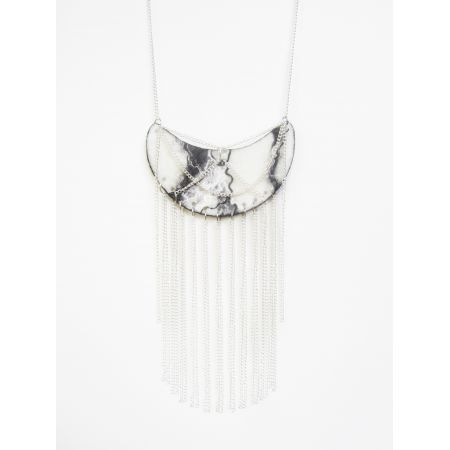 Franjes+Ketting+Marmeren+Juwelen - Necklace with fringes - Look a like marble - Perfect for your bohemian wardrobe