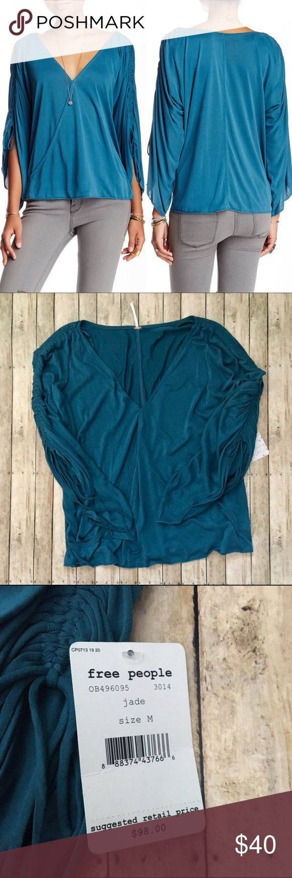 ❗️SALE TODAY NWT Free People Salt 'N' Peppa Blouse • NWT • Size Medium • Color Jade (blue/teal) • 3/4 sleeves with cinched detailing • Front is layered • 64% modal, 34% polyester • Free People Tops Blouses