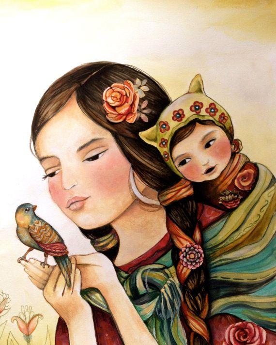 La madre y el niño con impresión de arte aves