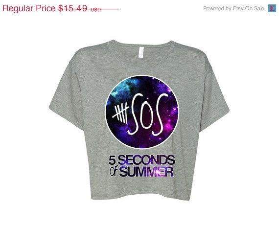 SALE 5 seconds of summer Galaxy Boxy Crop Top. 5 sos by AwkwardTee