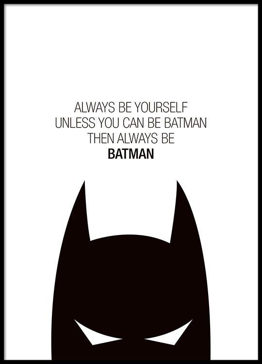 Plakat med Batman-motiv. Søt på barnerommet.