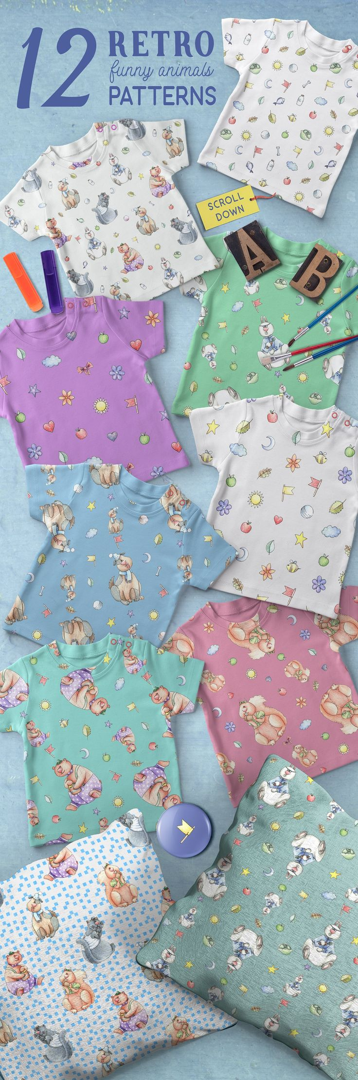 Funny Patterns for Kids ans Babies by Anna on @creativemarket