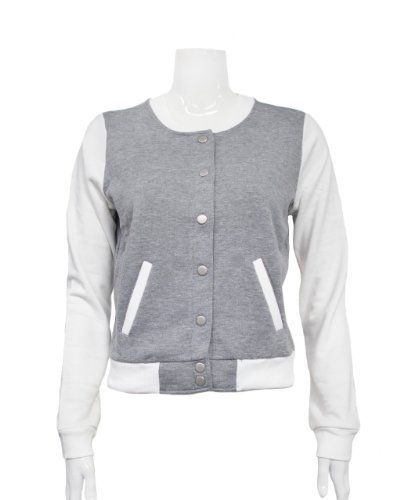 Heather Gray White Ladies Basic Long Sleeve Jersey Jacket Clothes Effect. $19.50