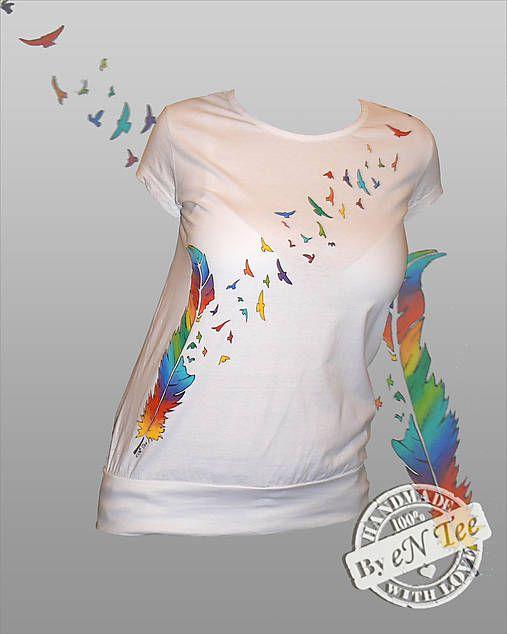 entee / Rozlietané pierko Rainbow - dámske tričko