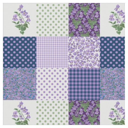 Pretty Mauve Faux Patchwork Sweet Violets Fabric: up to $27.95 per yard - http://www.zazzle.com/pretty_mauve_faux_patchwork_sweet_violets_fabric-256292077672957558?rf=238041988035411422&tc=pintw
