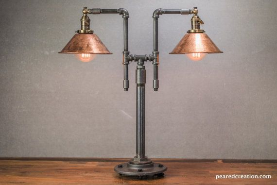 Vintage Table Lamp - Industrial Style - Iron Piping - Copper Shade - Steampunk…