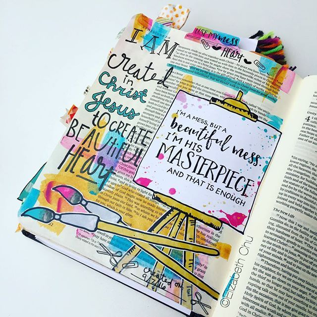 When I saw this new Print Pray Paste item I knew exactly what I wanted to do with it. Ephesians 2:10 says we are God's masterpiece. I love the fact that I'm a mess sometimes but I'm God's masterpiece even still and that is ENOUGH! Gals, let me just tell you today...YOU are ENOUGH. On days when you are a t-total mess or when you feel you have completely blown it, God looks at you and says 'My daughter, I made you and you are ENOUGH'! #illustratedfaith #icolorinmybible #illustratedart…