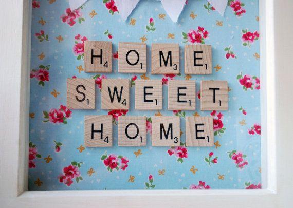 Arte de pared de Scrabble de Home Sweet Home por PencilAndTwine