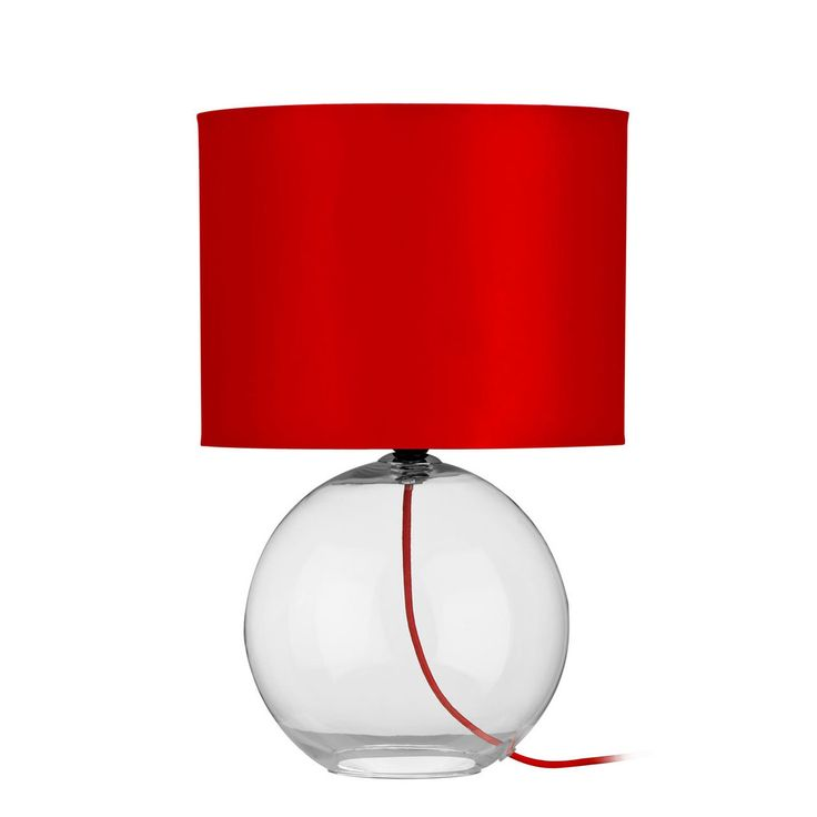 Table Lamp, Red Shade/Cable, Glass Base