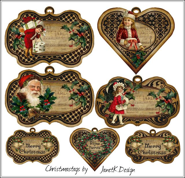 JanetK.Design Free digital vintage stuff: Christmas Tags / Labels