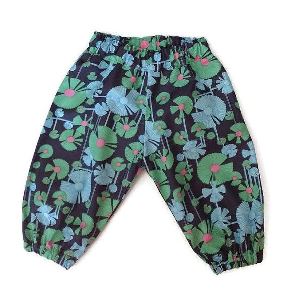 GIRLS HAREMS floral harem pants green and gray by TwoBlackRabbits