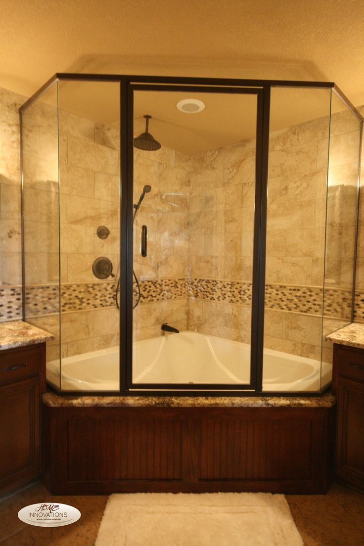 Nice Corner Shower And Bathtub Combo With Glass Shower Enclosure   Use J/K  To