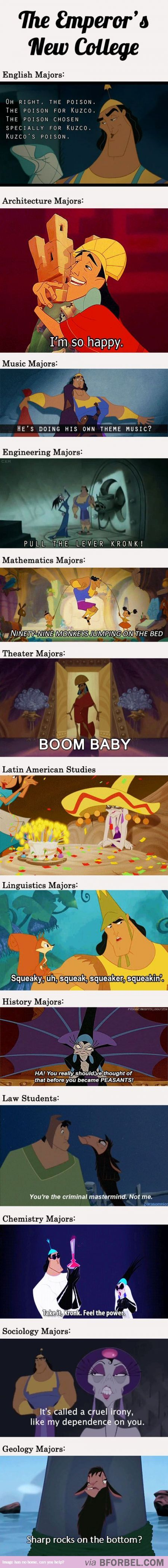 The Emperors New Groove/College- couldn't help to pin it. It shows such creative thought.