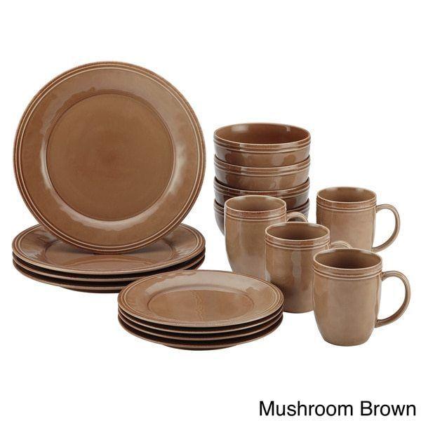16 Piece Mushroom Brown Stoneware Dinnerware Set Rachael Ray Free Shipping #RachaelRay