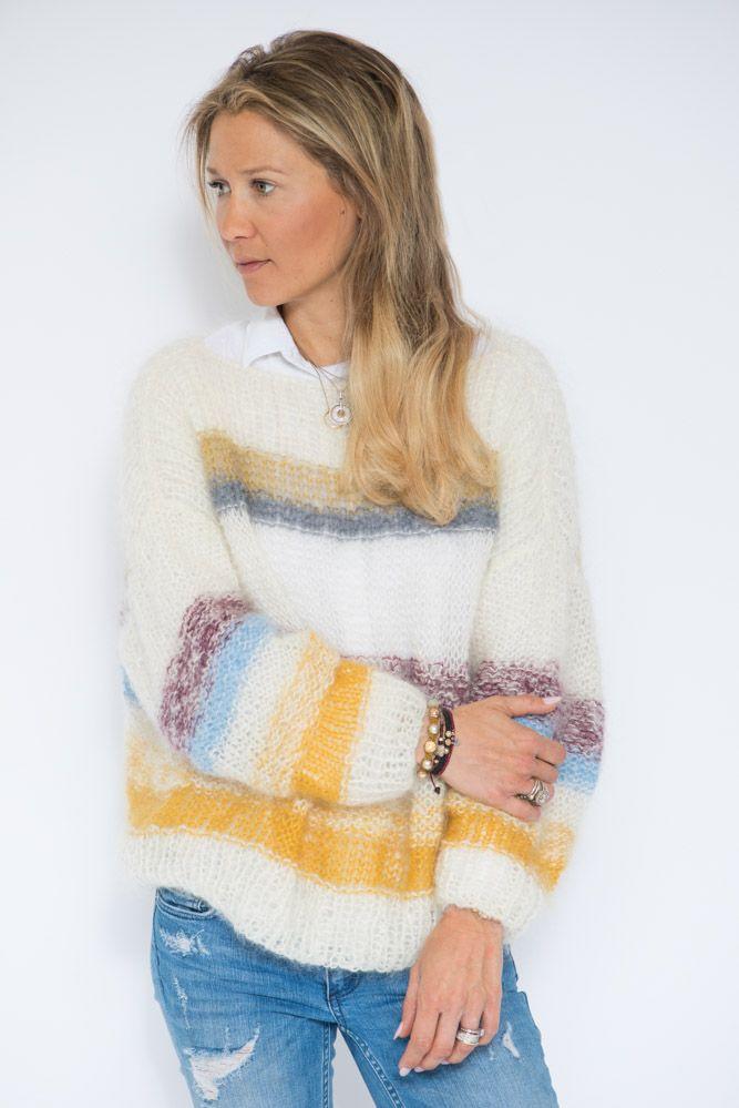 Her kommer den. Strikkeoppskriften på genseren (inspirert av genseren fra FreePeople), som mange av dere har ventet på. Det offwhite og grå strikkes i garnet Dale Påfugl, og du trenger ca 6 nøster. Sennepsgul, lyseblå, grå og burgunder strikkes i Lang Mohair Luxe, og du trenger ett av hvert nøste. Legg opp 142 masker på …