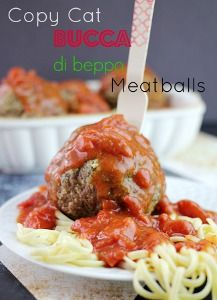Copycat Buca di Beppo Meatballs | AllFreeCopycatRecipes.com  For me, baseball size would be large enough.