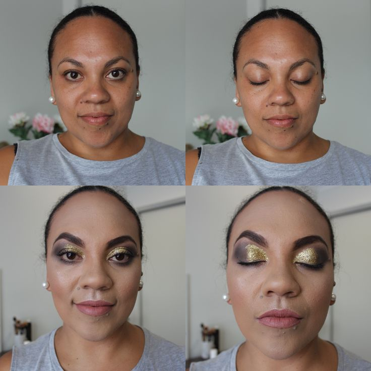 Before and after full glam gold and black glitter eyeshadow! 💋💄