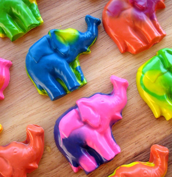 My favorite swirled elephant crayons. Perfect as favors for Indian themed parties.
