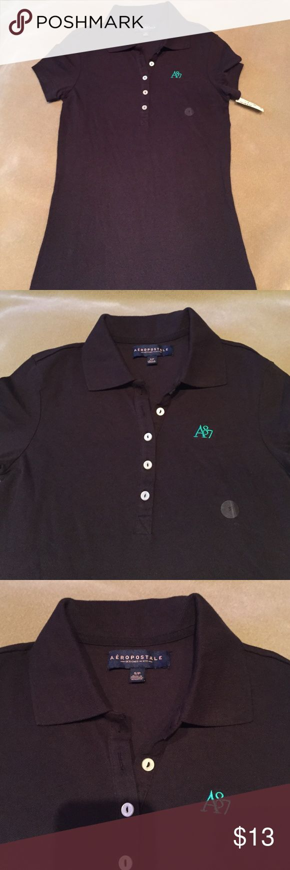 Aeropostale Black Polo Shirt NEW Aeropostale NEW black Polo Shirt with Teal Green logo on front.. buttons on front too. Aeropostale Tops Blouses