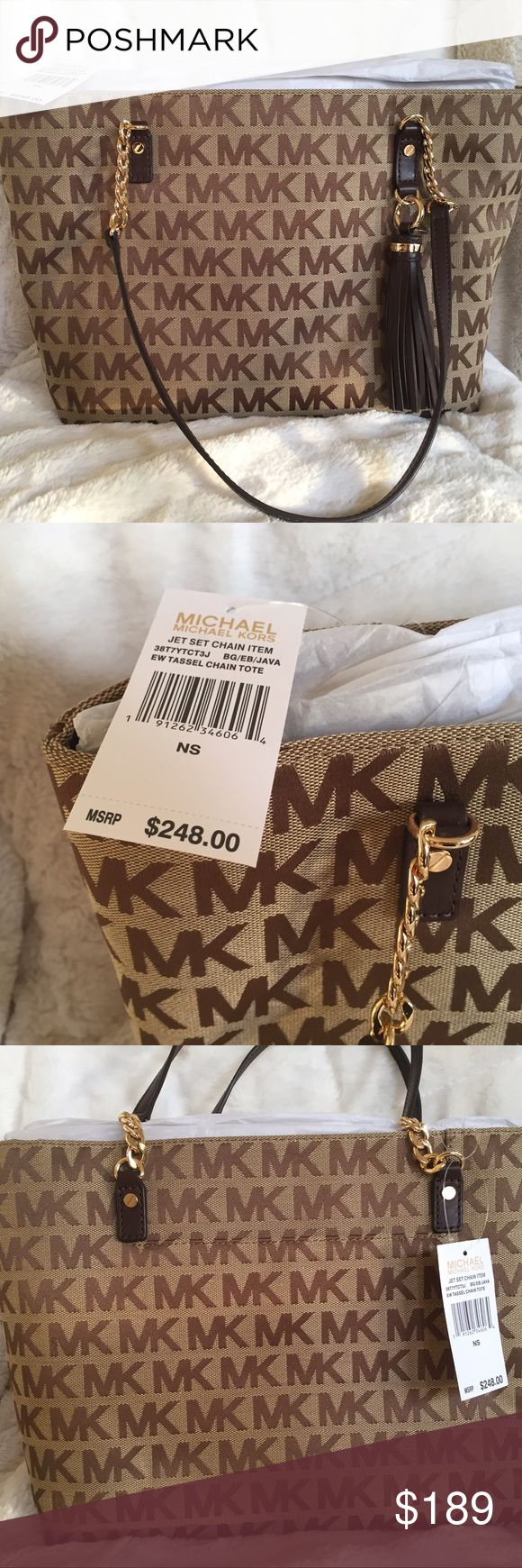 "TODAY ONLY Michael Kors Jet Set NWT MSRP 248.00. This is a NWT bag, retails for 248.00. Has a zippered closure and features a back pocket on the outside. Large leather tassel and leather accented straps with chains. Has zippered pocket inside and pouches for cell phone. 15""L (top) 12""L (bottom) 10""H x 5""W. Strap drop 11"". Michael Kors Bags Shoulder Bags"