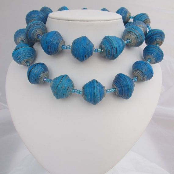 recycled paper bead necklace turquoise by wiredandwonderfull, $20.00