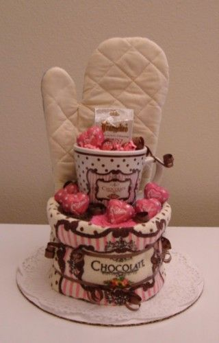 Pink and Brown Kitchen Towel Cake with Gourmet Coffee and Chocolate - The Flourless Bakery