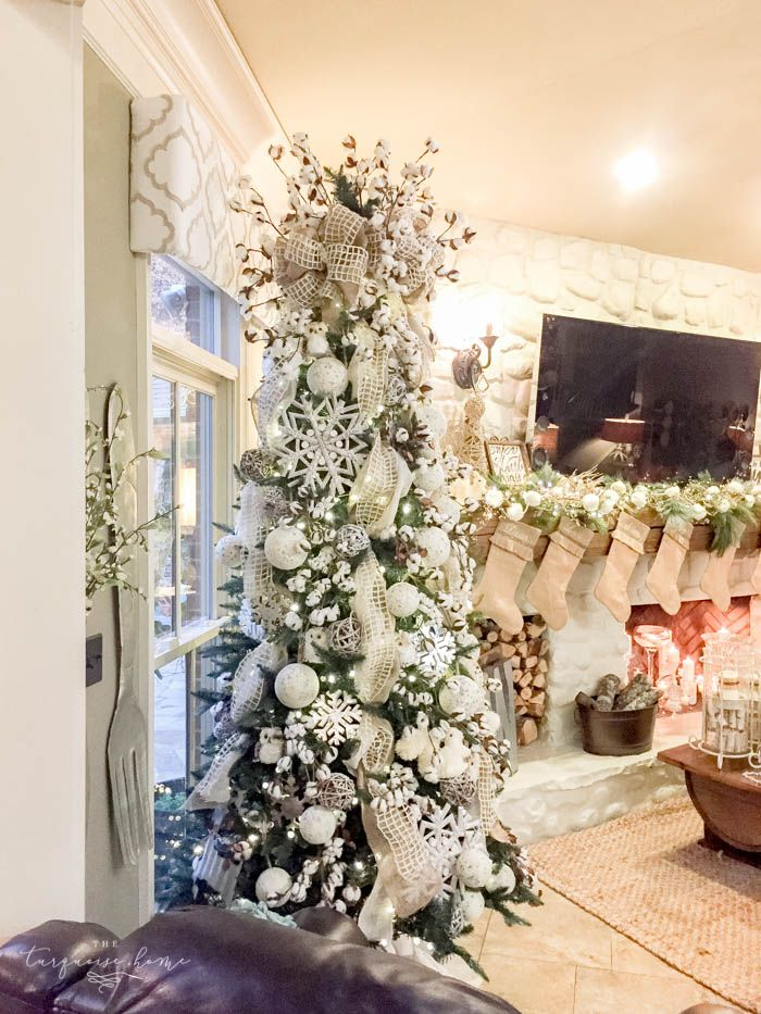 Gorgeous winter wonderland Christmas tree with cotton bolls and cute forest  creatures. Perfect to leave