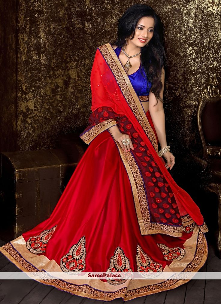Lovable Red Designer Half N Half saree