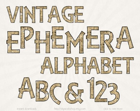 #Vintage #Ephemera #Alphabet - digital clipart, clip art, letters with old paper textures,  font with newspapers patterns, alpha, numbers  This old fashioned alphabet contains... #etsy #digiworkshop #scrapbooking #illustration #creative #clipart #printables #cardmaking #alphabet #digital #letters #numbers #font #vintage #ephemera #old #newspaper