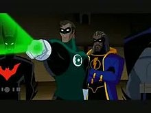 Green Lantern, Batman Beyond, the older Static Shock, and Batman, as seen in #JusticeLeague Unlimited.