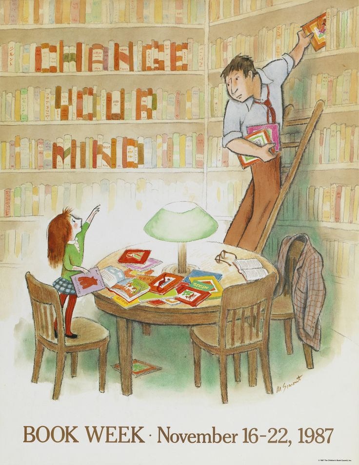Official Children's Book Week poster, 1987, Marc Simont (B. 1915)
