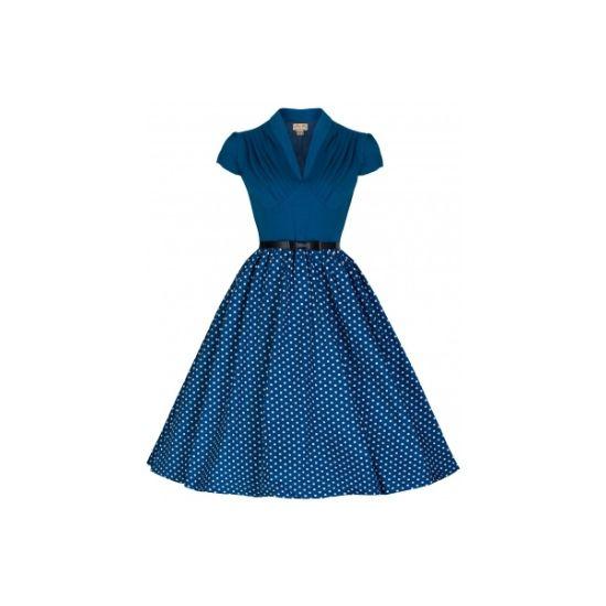 Retro šaty Lindy Bop Megan Blue Polka Šaty ve stylu 50. let. Krásné šaty v barvě spíše modro-zelené, zajímavé, nepřehlédnutelné. Živůtek z pružného materiálu dělá krásný dekolt, bohatost puntíkaté sukně doladíte naší spodničkou z nabídky, součástí pásek s mašličkou. Dle zkušeností zákaznic sáhněte raději po větší velikosti, než obvykle nosíte.