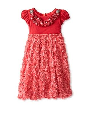 81% OFF C'est Chouette Couture Girl's Petite Rose Dress (Red)