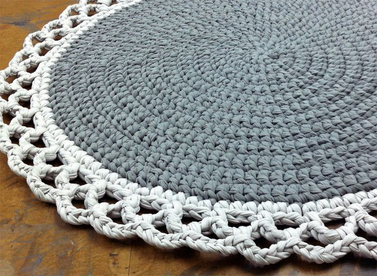 Crochet Rug Round Rug Cotton Rug Knitted Rug Gray by OmaniStudio, ₪457.00