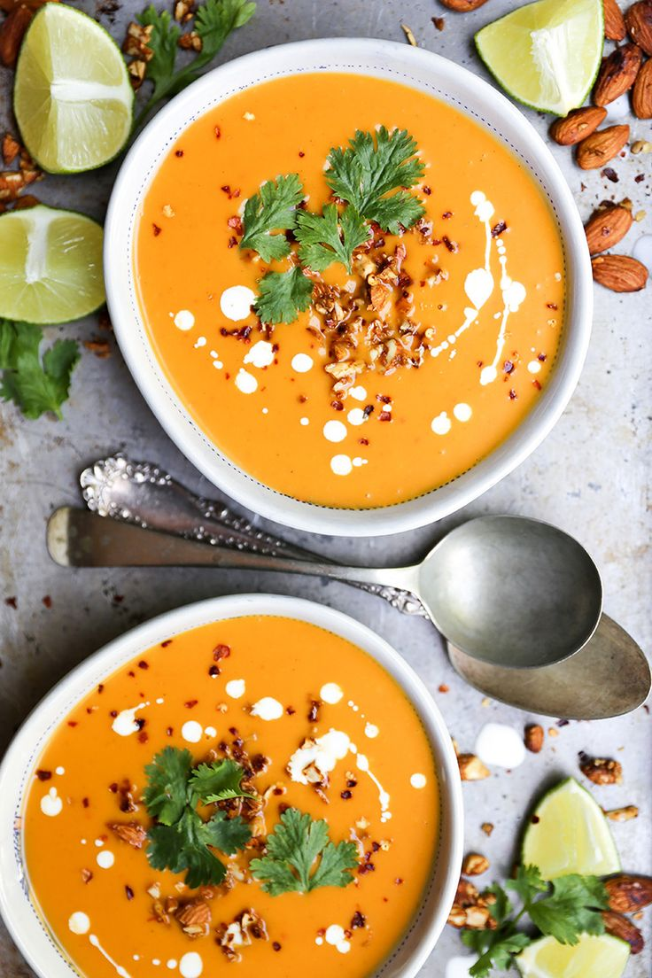 Creamy Thai Carrot Sweet Potato Soup with Roasted Tamari Almonds | www.floatingkitchen.net