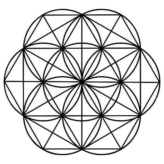 8.5x8.5 Seed of Life Black Crystal Grid by AngelsMadeSimple