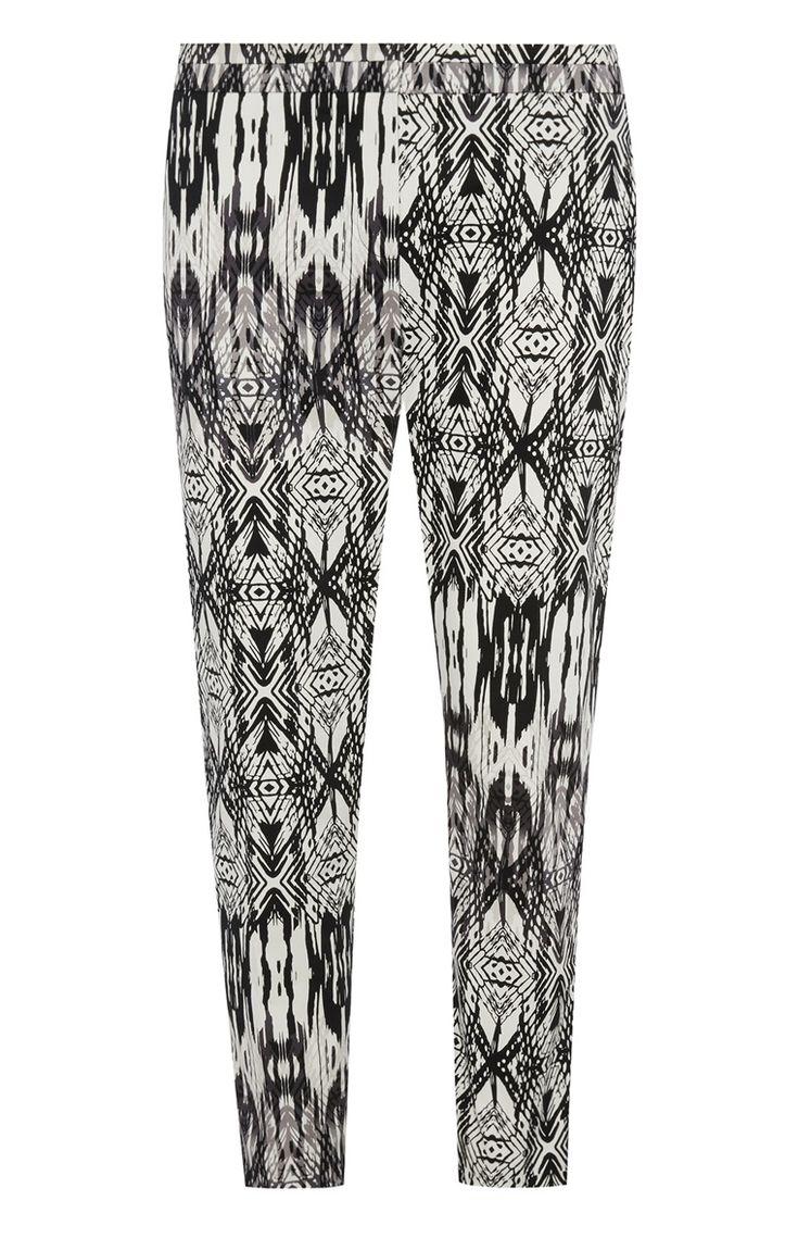 Primark - Schwarz-weiß bedruckte Slim-Fit-Hose