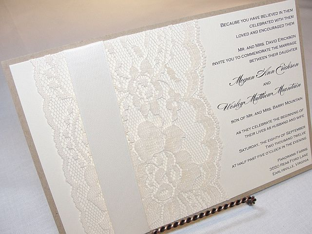 Lace Wedding Invitation Invites Pinterest Lace