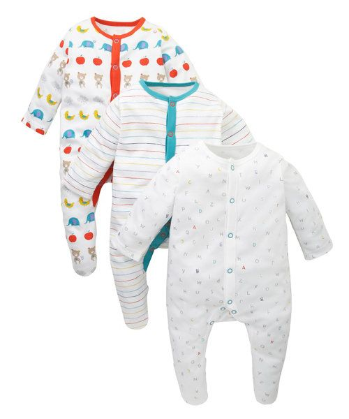 Alphabet Pure Soft Cotton Long Sleeve Sleepsuits - 3 Pack http://www.parentideal.co.uk/mothercare---baby-clothes.html