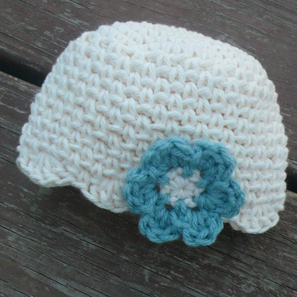 Crochet Baby Hat Flower Patterns : CROCHET PATTERN - Baby Beanie w/ Flower Knit/Crochet ...