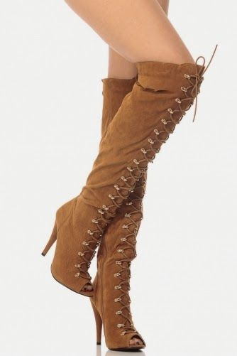 Tan Faux Suede Thigh High Lace Up Peep Toe Boots