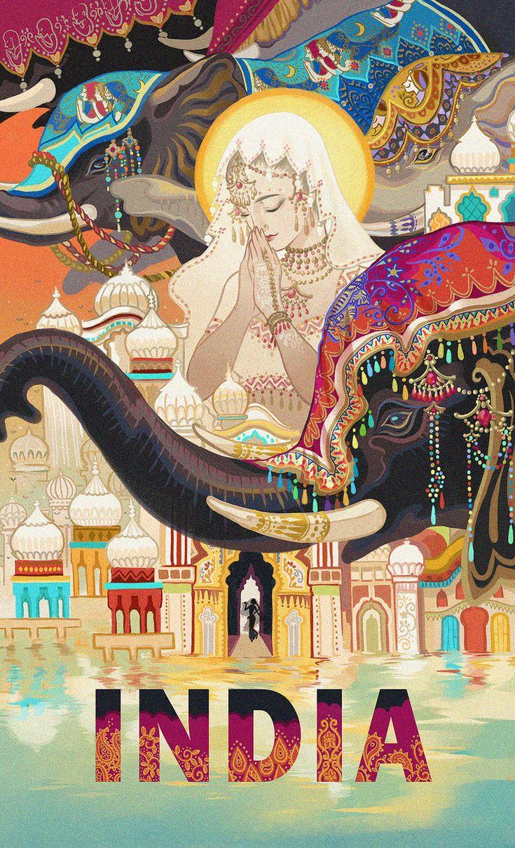 Travel poster 印度-Kuri_插画,原创,海报,illustration,板绘_涂鸦王国插画