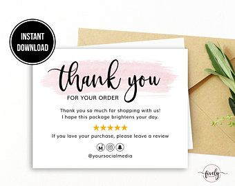 Instant Thank You Cards Business Editable Pdf Purchase Thank You Inserts For Online Shops Reseller Thanks Ebay Thank You Mercari Etsy Business Thank You Cards Thank You Cards Business Thank You