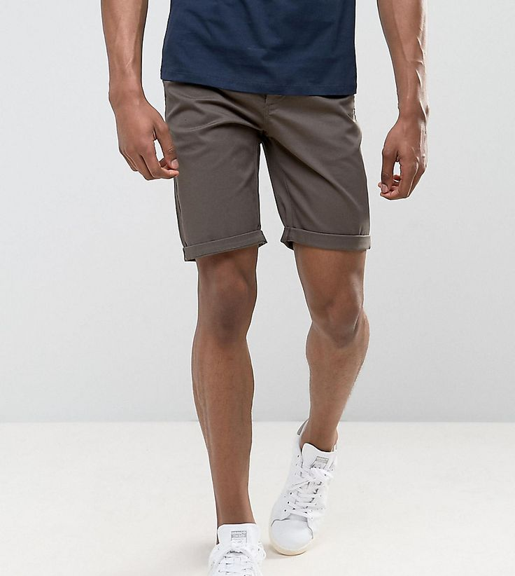 ASOS TALL Slim Chino Shorts In Khaki - Green